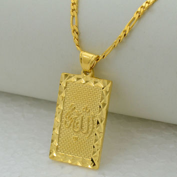 Prophet mohammed allah pendant necklace women men - gold plated plating fashion jewelry middle east muslim Islamic arab ahmed