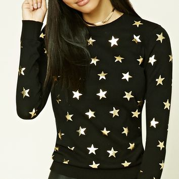 Star Print Crew Neck Sweater