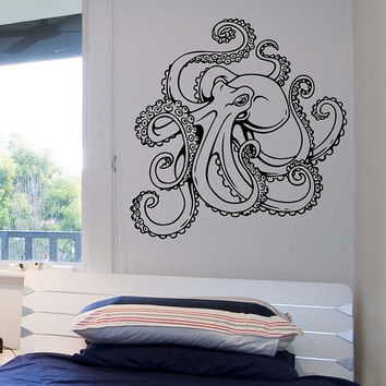 Octopus Wall Decal Version 2 Vinyl Sticker Art Decor Bedroom Design Mural interior design animals marine life sea ocean abstract