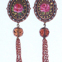 Boho Romantic Floral Tassel Earrings Hand Paint Shabby Chic Victorian Rose Dangle Earrings