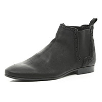 River Island MensBlack nubuck leather Chelsea boots
