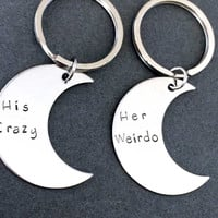 NO LONGER OFFERING CHRISTMAS DELIVERY His Crazy Her Weirdo Moon Keychains, Couples Keychains,Boyfriend Girlfriend Gift