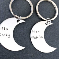 Valentines Day Gift, His Crazy Her Weirdo Moon Keychains, Couples Keychains,Boyfriend Girlfriend Gift