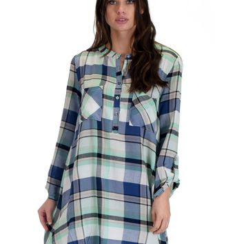 SL4206 Mint 3/4 Sleeve Plaid Tunic Top