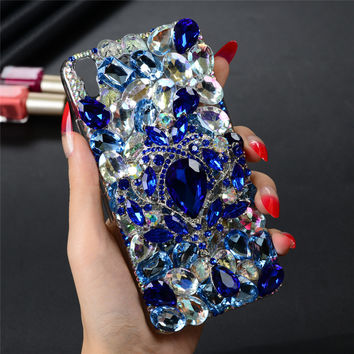 """Luxury 3D Handmade Bling Glitter Diamond Phone Case For Huawei Y6 / Y6 Scale / Honor 4A 5.0"""" Hard Clear Crystal Back Cover Funda"""