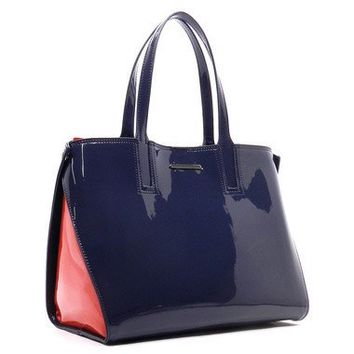 Vegan Patent Colorblock 2-in-1 Tote (5 Colors Available)