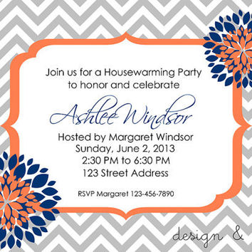Modern Wedding Shower Invitation Navy and Coral DIY Printable  Housewarming Party/ Graduation Invite