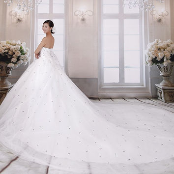 Popular 2015 special hot Princess luxury crystal diamond strap new wedding dress = 1932190212