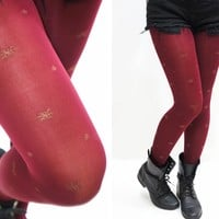 Holiday Snowflake Red Tights