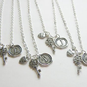 4 Best Friends Necklaces, Best Friends Are The Key To My Heart, Initial Necklaces, Four Best Friends Jewelry, Four Best Friends Necklaces,