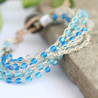 Ocean Blue Beaded Crochet Bracelet, 6 Strand, Summer, Spring Jewelry, Beaded Single Wrap Bracelet