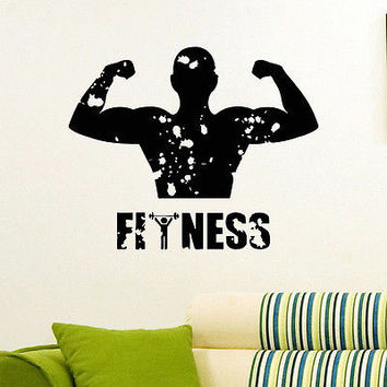 WALL DECAL VINYL STICKER SPORT GYM FITNESS BODY-BUILDING DECOR SB845