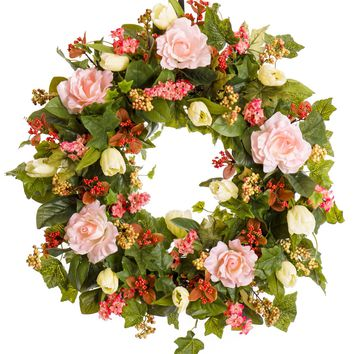 Pink Rose, Tulip and Berry Everyday Spring Wreath (SW026)