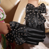 Motorcycle Bow Designed Soft PU Leather Gloves For Women