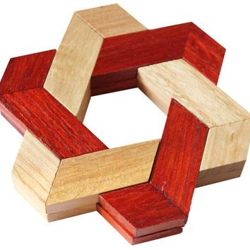 Star-shaped Wooden Puzzle IQ Test Brain Teaser Puzzles Game Toys for Adults Kids