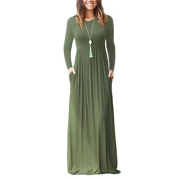 Autumn Long Sleeve Maxi Bottom Maternity Dress For Pregnant Women Clothes O-neck Solid Dress Pregnancy Vestidos Gravida Clothing