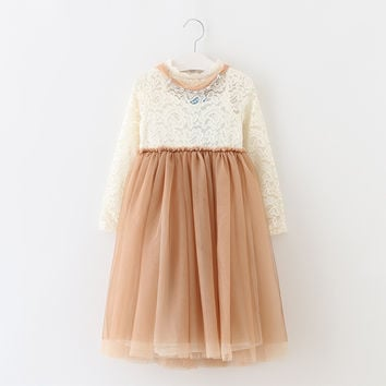 "The ""Abbey"" Brown Beige Princess Lace Dress & Necklace - Tea Length"