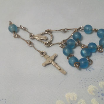 Antique Silver and Blue Glass Beads Child's Rosary Baptism Rosary One Decade Rosary Virgin Mary Mother Pocket Rosary Christening Rosary