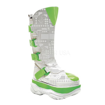 Neptune 309 UV White Neon Green UV Techno Cyber Platform Knee Boot