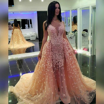 See Though Vestidos De Festa 2017 Lace Sexy Long Muslim Removable Train See Through Arabic Evening Gowns women Prom Dresses