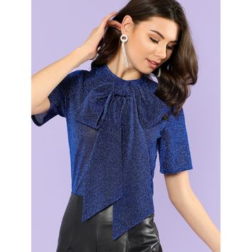 Exaggerate Bow Tie Neck Glitter Mesh Top