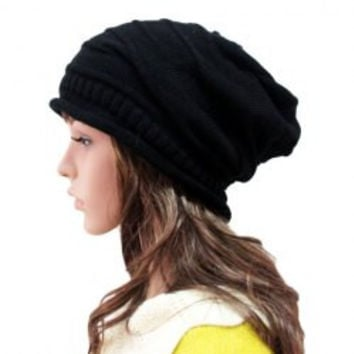 Black Knitted Striped Hat