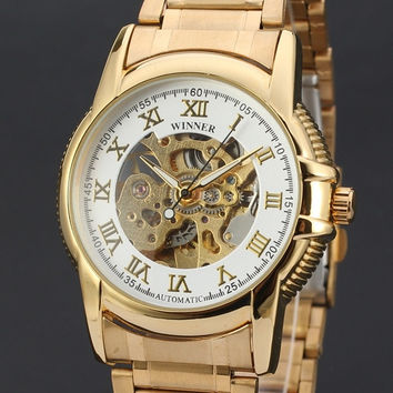 2015 Brand Stainless Steel Band Automatic Mechanical Self Wind Watch Men Gold Skeleton Watch Full Steel Watch ( White , Black)
