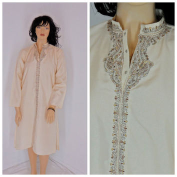 60's 70's Kaftan dress, size 13 / 16, vintage, embroidered, tunic, ethnic, boho, hippie
