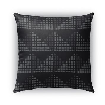 EDITH BLOCK PRINT CHARCOAL Indoor|Outdoor Pillow By Becky Bailey