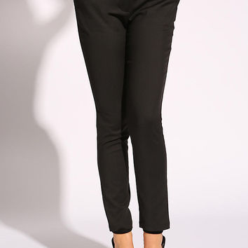 Black Mid Rise Solid Slacks