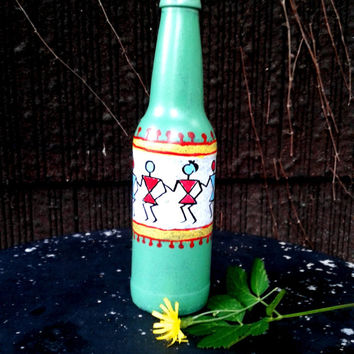 Dancing Warli Tribals Decorative Bottle.Handpainted Flower Vase.Upcycled Beer Bottle.Sea Green With Red Yellow Tones.