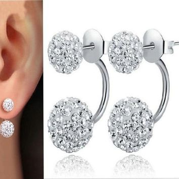 Women Jewelry New 925 Sterling Silver Double Beads Crystal Stud Earring