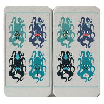 4 Octupi in Disguise - Octopus - Mustache - Taiga Hinge Wallet Clutch