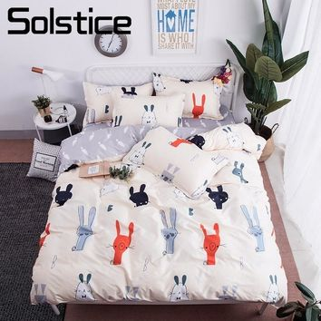 Solstice Home Textile Rabbit Animal Bedding Sets Boys Girls Teen Kid Bedlinen 3/4Pcs Duvet Cover Sheet Pillowcase King-Twin Size