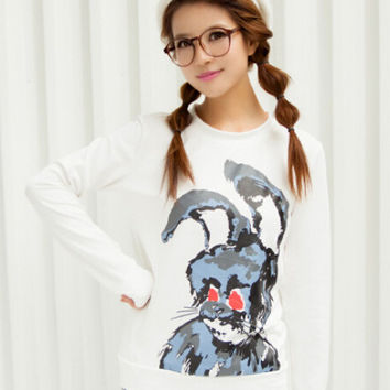 Rabbit Cartoon Print Long Sleeve Graphic T-Shirt