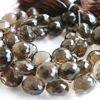 Smoky Quartz Briolette Gemstone Faceted Onion Briolette 8mm, 1/2 Strand, Wholesale