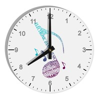 """Music Note Typography 8"""" Round Wall Clock with Numbers"""