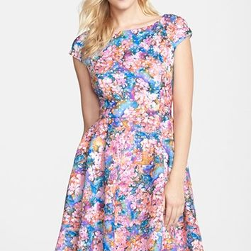 Women's Betsey Johnson Laser Cut Floral Print Scuba Fit & Flare Dress