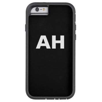 Monogrammed white bold block letters on black tough xtreme iPhone 6 case