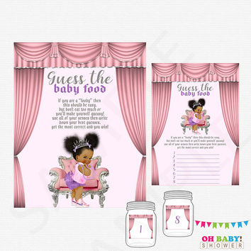 African American Baby Shower Games, Guess the Baby Food, Baby Food Game, Girl Baby Shower Printables, Instant Download, Pink Lavender, BBPSL