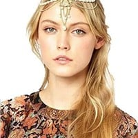 Women's Fashion Head Chain Pearl Bead Head Jewlery Crown Headband