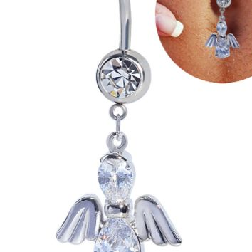 Fashion angel's wing shaped zircon belly button ring antiallergic Navel Belly Ring-0428-Gifts box