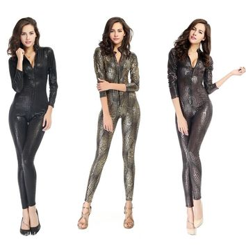 Black Gold Silver Catwoman Faux Leather Snakeskin Bodysuit Front Zipper Jumpsuits Rompers Catsuit Sexy Club Costume Plus Size