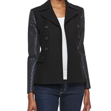 Women's Double-Face Jacket with Quilted Sleeves - Michael Kors - Black (6)