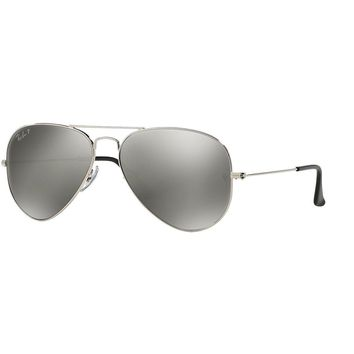 One-nice™ RAY-BAN POLARIZED AVIATOR SUNGLASSES RB3025 003/59 SILVER MIRROR LENS NEW