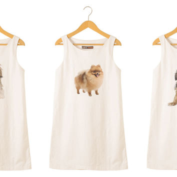 Dogs-4 Printed Vintage 100% Cotton Linen Mini Shift Dress WDS_01