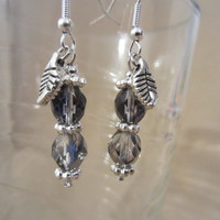 Handmade Blue/Silver Facetted Glass Bead & Silver Leaf Dangle Earrings, Sparkle, Simple Style, Fashion Jewelry, Charm Earrings, Elegance