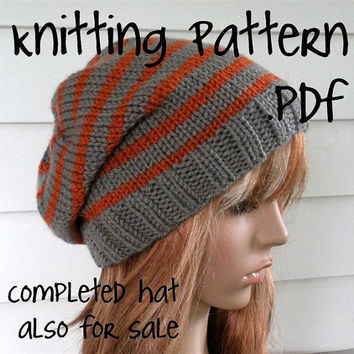 Knitting Pattern, Knit Hat Pattern, Easy Slouchy Beanie Beret, Unisex, winter, ski, teen