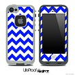 Royal Blue and White V2 Chevron Pattern Skin for the iPhone 5 or 4/4s LifeProof Case