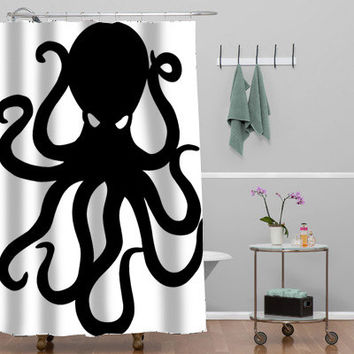 giant octopus tattoo drawing Custom Shower curtain decorative shower curtain size 36x72,48x72,60x72,66x72